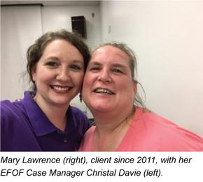 Mary Lawrence, client since 2011, with her EFOF Case Manager Christal Davie (left)